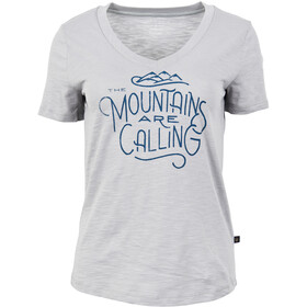 United By Blue Mountains Are Calling Graphic V-Neck Shortsleeve Tee Women boulder grey